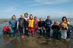 kids educational trip into mudflats
