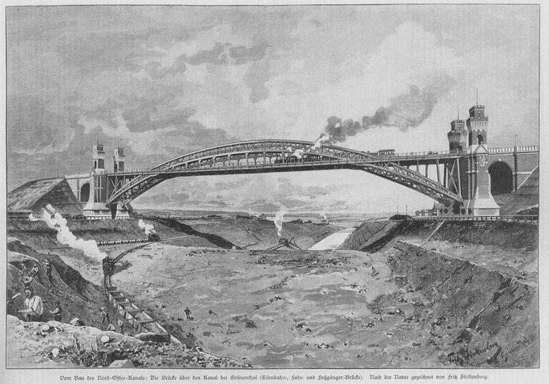 Building the Kiel Canal and Grünenthaler Hochbrücke Pic Wikimedia