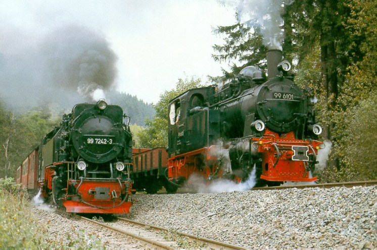 Trains to Harzgerode and Staßberg pass at Alexisbad, Harz Mountain railway