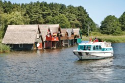 boat houses line the banks