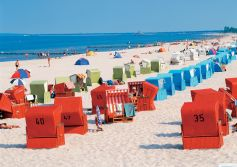 Usedom beach with wicker chairs