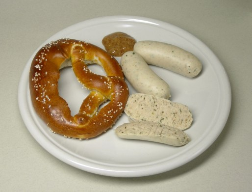 White sausage weisswurst on a plate