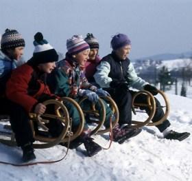 Tobogganing kids on the Fichtelberg