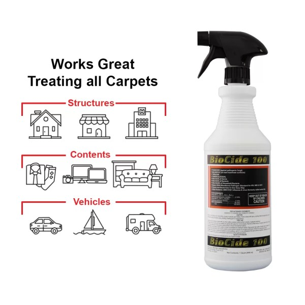 "Biocide 100 Biocide 100 is a highly effective Biocide mold cleaner against ""Pathogenic"" (disease causing) Fungus and Mold. Biocide 100 can be used to clean mold from multiple surfaces. This product kills Mold and Fungus, Bacteria, and Viruses. Biocide 100 is an EPA registerd mold cleaning solution. The Preferred Product of Professional Mold Remediators and Water Mitigation Specialists.
