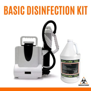 Basic Disinfection Kit This package includes our featured Antivirus Electrostatic Backpack Sprayer which can cover up to 21,500 square feet per tank along with two cases of Biocide 100 disinfectant.