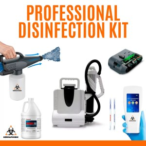 Professional Disinfection Kit This package is ideal for professionals that need to sanitize surfaces in both small and larger spaces. It also includes the Germ Detective ATP Bacteria Meter which analyzes surfaces for possible bacteria before and after sanitizing.