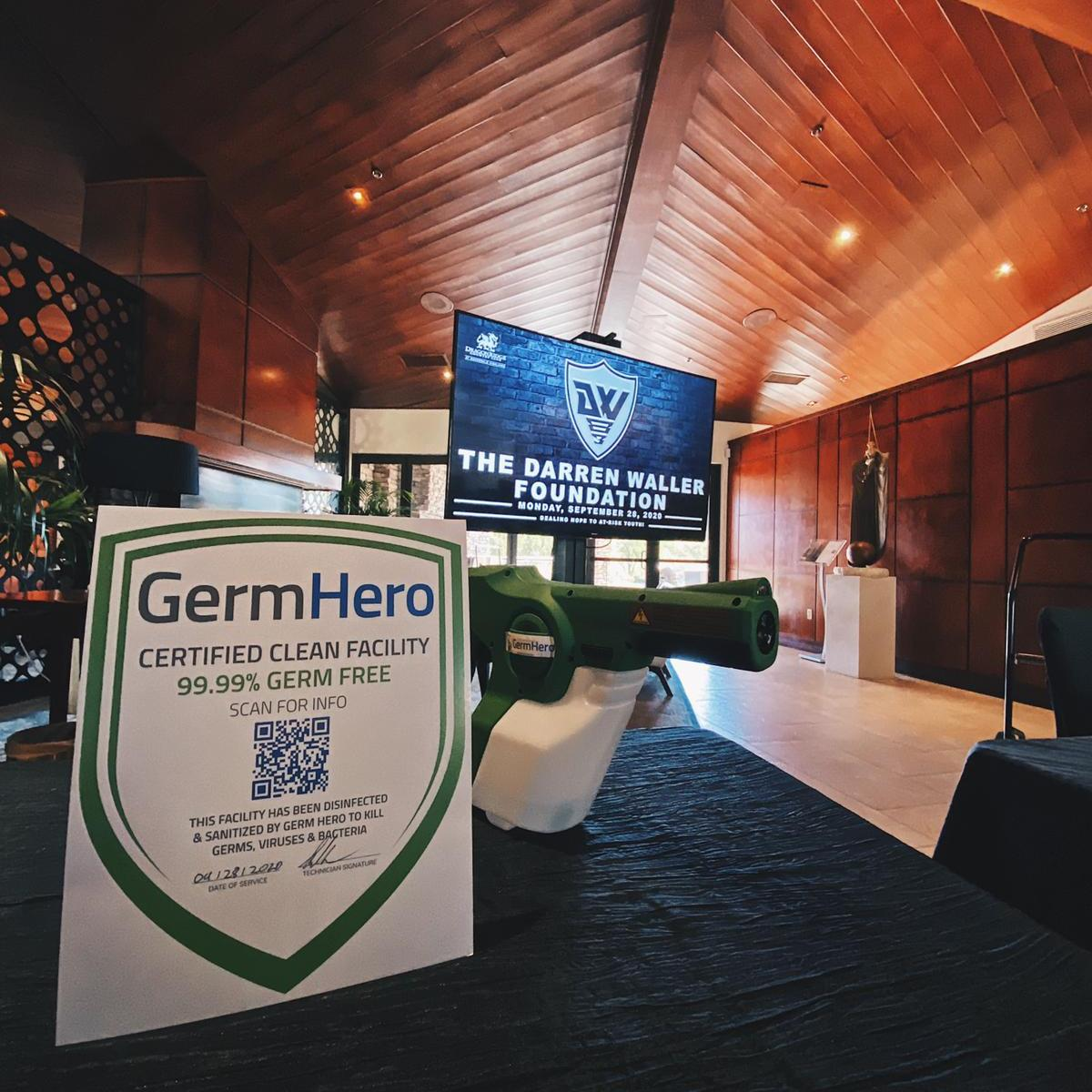 Germ Hero Verified Shield at the Dragon Ridge Country Club for Darren Waller Foundation Beyond the Wall Fundraiser Gala