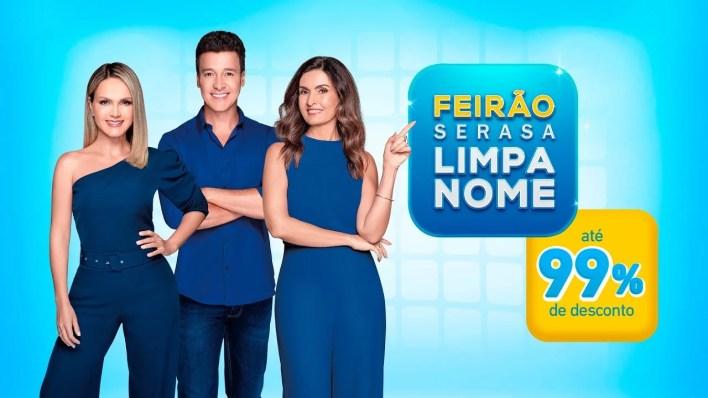 Fátima Bernardes, Rodrigo Faro e Eliana vão divulgar maior feirão de negociação de dívidas de sua história (Foto: Reprodução)