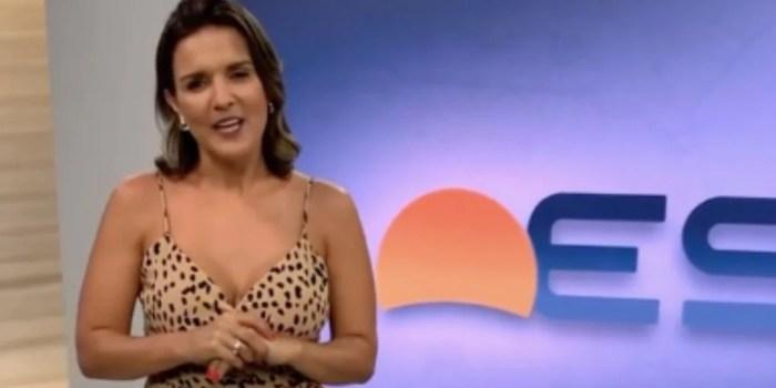 Tati Braga no estúdio do Bom Dia ES, na TV Gazeta; apresentadora se demitiu (Foto: Reprodução)