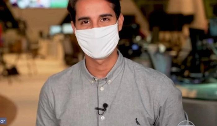 Murilo Salviano expôs marca de roupa no Fantástico e quebrou regra da emissora (Foto: Reprodução/Globo)