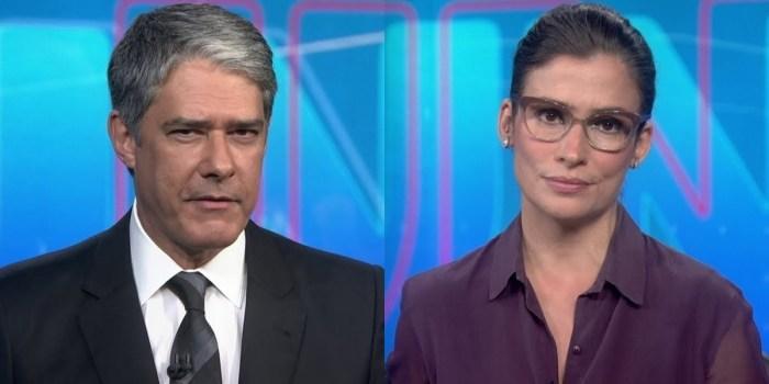 William Bonner e Renata Vasconcellos no comando do Jornal Nacional; apresentadores foram intimados pela polícia (Foto: Reprodução/Globo)