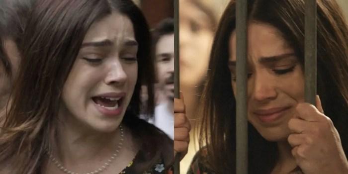 Shirlei (Sabrina Petraglia) é presa injustamente em Haja Coração (Foto: Reprodução/TV Globo)
