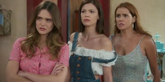 Juliana Paiva (Luna), Vitória Strada (Kyra) e Deborah Secco (Alexia) em Salve-se Quem Puder (Foto: Reprodução/TV Globo)