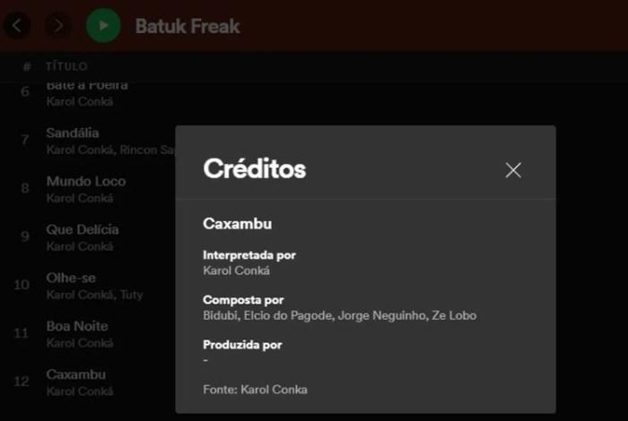 Crédito de canção de 'Batuk Freak', produzido por Vinícius Nave (Foto: Reprodução/G1)