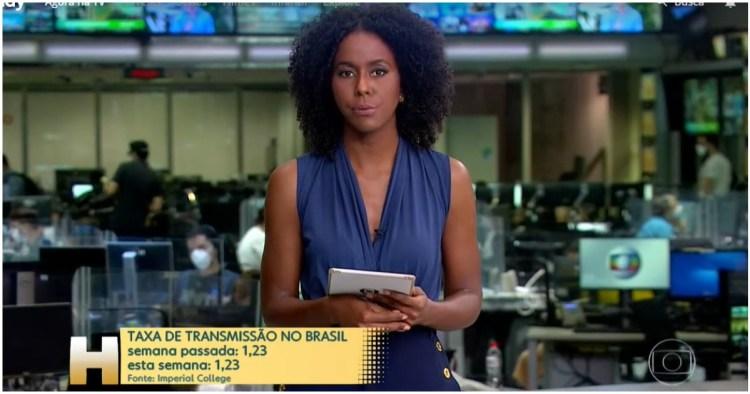 Maju Coutinho invadiu a programação da Globo e alertou sobre o aumento de mortes (Foto: Reprodução)