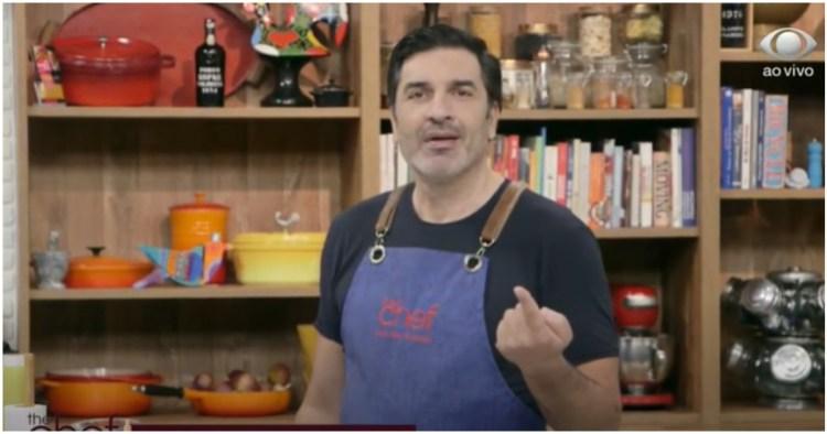 Edu Guedes interrompeu o The Chef para falar de um relato emocionante sobre câncer e emocionou Lucas Salles