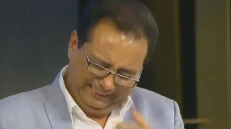 Geraldo Luís, que se recuperou da Covid-19, chorando (Foto: Reprodução)