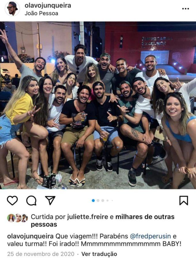 Juliette Freira aglomerando com amigos em novembro de 2020 (Foto: Reprodução)