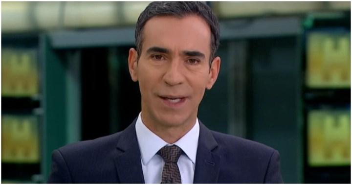 César Tralli substituiu Maju Coutinho no Jornal Hoje desta sexta-feira (Foto: Reprodução)