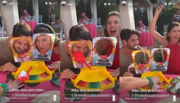 Alexandre Pato e Rebeca Abravanel voltaram a causar na mídia por conta de uma brincadeira que fizeram nas redes sociais (Foto: Reprodução)