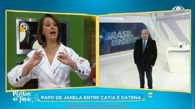 Cátia Fonseca e Datena durante interação do Melhor da Tarde (Foto: Reprodução / Band)