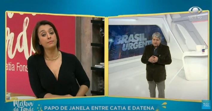 Jornalista Datena e Catia Fonseca (Foto: Reprodução)
