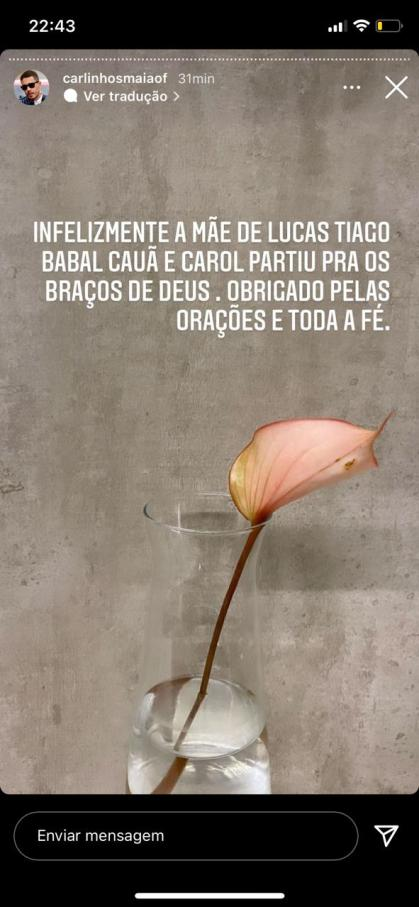 Carlinhos Maia se despede da mãe de Lucas Guimarães (Foto: Reprodução)