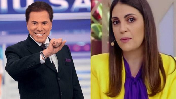 O dono do SBT, Silvio Santos e a apresentadora Chris Flores (Foto: Reprodução)