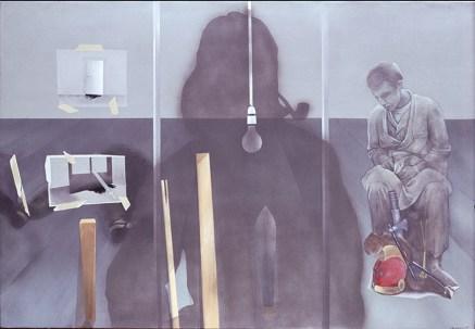 401 ΓΣΝΑ, ακρυλικό σε καμβά, 104x160 cm, 1975