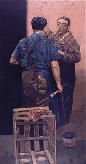 Διπλό πορτρέτο με μπέικον, λάδι σε καμβά, 177x91 cm, 1978