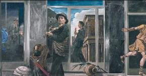 Δύο μουσικοί, λαδί σε καμβά, 90 x 180 cm, 1997