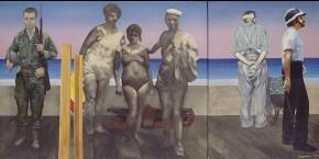 Οικογένεια, ακρυλικό σε καμβά, 104x234 cm, 1974