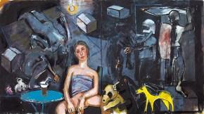 Σαββίνα με νεσκαφέ Ι, λάδι σε καμβά, 100x200 cm, 2009 Sabbina with Nescafé I, oil on canvas, 100x200 cm, 2009