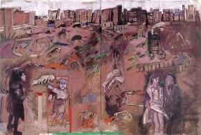 Τοπίο της πόλης, ακρυλικό, παστέλ και λάδι σε καμβά, 200x300 cm, 1997