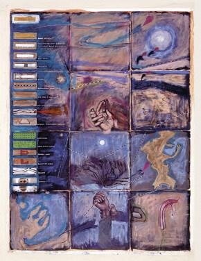 Attica index map, tempera, pastel, oil on canvas, 200x 150 cm, 1997