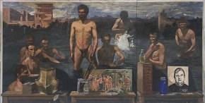 Bathers, oil on wood, 92x183 cm, 1980