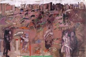 City landscape, acrylic, pastel and oil on canvas, 200x300 cm, 1997