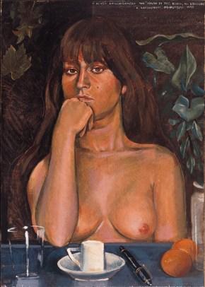 Crysa thinking of Tsarouchis's sailor, oil on wood, 80x60 cm, 1975