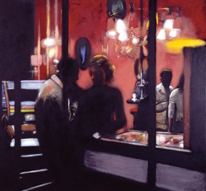 Evening encounter III, acrylic on canvas, 140x140 cm, 1987