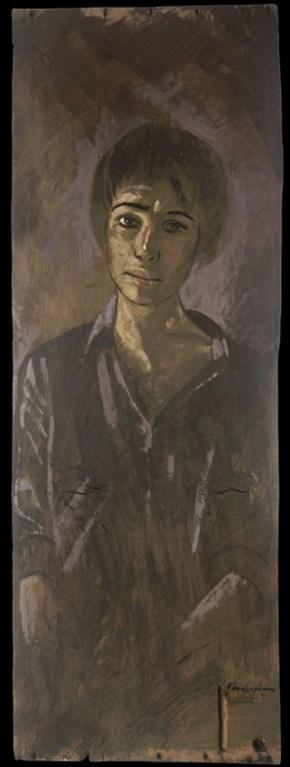 Katia at Doboli str. I, oil on wood, 70x30 cm, 1989