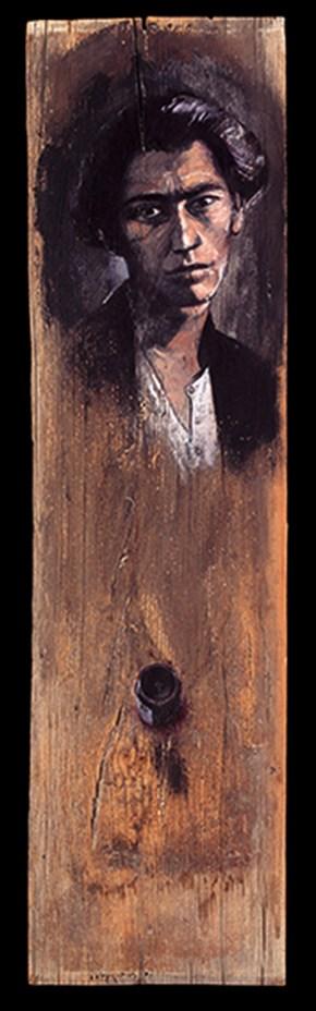 Mishka, oil on wood, 100x30 cm, 1994