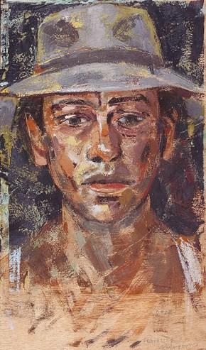 Self-portrait, encaustic, 50x35 cm, 2006