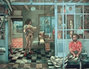 Vermeer's coffe house II, acrylic on canvas, 122x202 cm, 1976