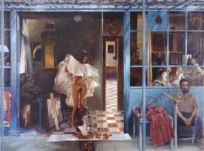 Vermeer's coffee house I, acrylic on canvas, 122x202 cm, 1976