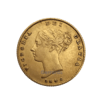 Half gold sovereign Victoria Young Head Shield Back