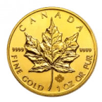 gold maple leaf coin with hologram