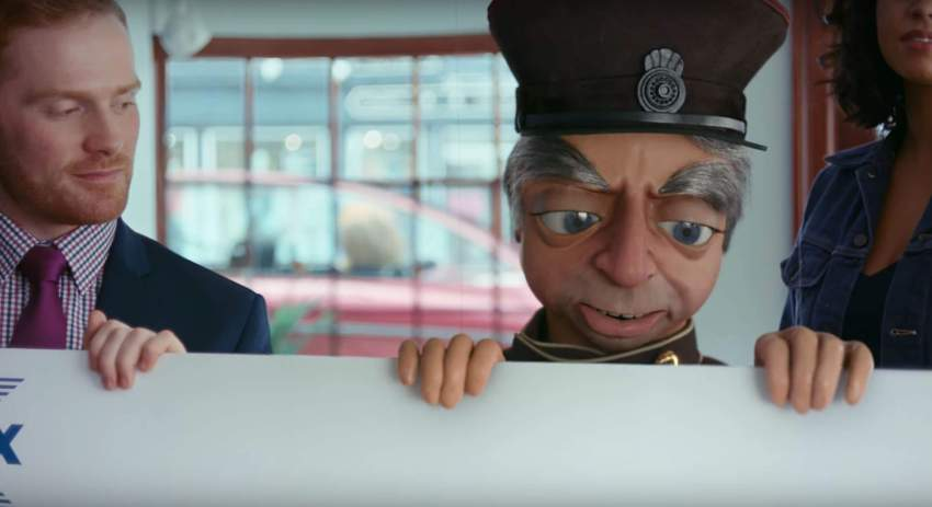 A life size Parker receives his prize in the Halifax Thunderbirds advert