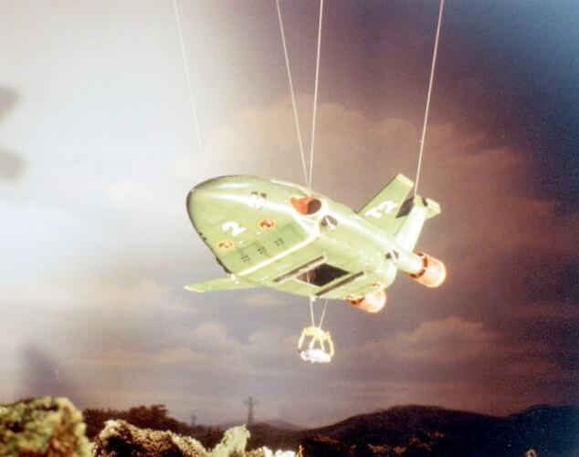 Thunderbird 2 during filming of the Swinton Ad - Gerry Anderson Adverts