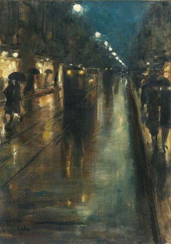 Lesser Ury, Night Street Scene in Berlin (Leipziger Straße), 1889