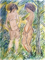 Otto Mueller, Two Standing Nudes in the Forest, 1923